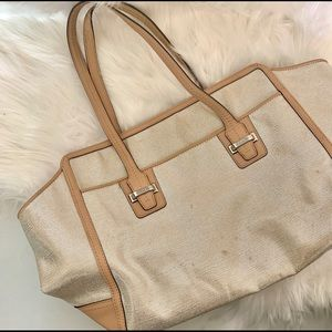 Coach | Metallic Silver and Tan Tote Bag